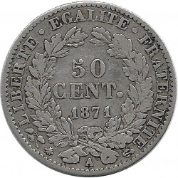 FRANCE 50 CENTIMES CERES 1871 A TB