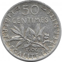 FRANCE 50 CENTIMES ROTY 1906 TB+