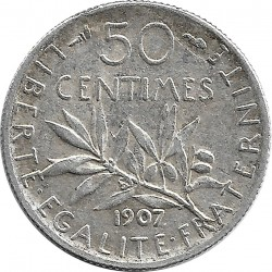 FRANCE 50 CENTIMES ROTY 1907 TTB