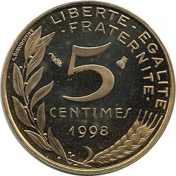 FRANCE 5 CENTIMES LAGRIFFOUL 1998 4 plis BE