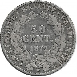 FRANCE 50 CENTIMES CERES 1872 K TB+