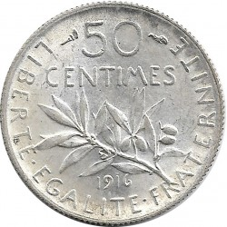FRANCE 50 CENTIMES ROTY 1916 SUP-