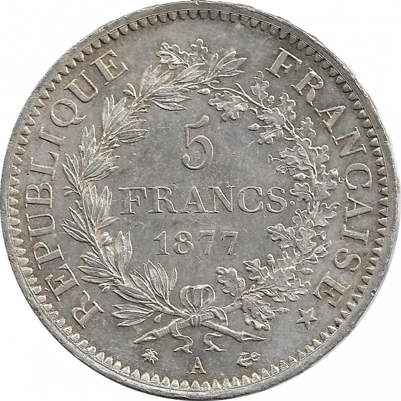 FRANCE 5 FRANCS HERCULES DUPRE 1877 A (Paris) TTB+