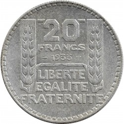 FRANCE 20 FRANCS TURIN 1933 RAMEAUX LONGS TTB+