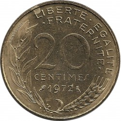 FRANCE 20 CENTIMES LAGRIFFOUL 1972 SUP+