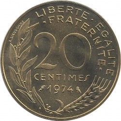 FRANCE 20 CENTIMES LAGRIFFOUL 1974 FDC