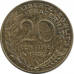 FRANCE 20 CENTIMES LAGRIFFOUL 1989 SUP+