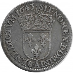 LOUIS XIII (1610-1643) QUART ECU 1643 A. (PARIS) 2eme POINCON WARIN TTB NETTOYE
