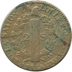 FRANCE LOUIS XVI 2 SOLS FRANÇOIS 1792 A (Paris) TB+