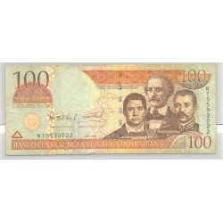 REPUBLIQUE DOMINICAINE 100 PESOS 2004 SERIE KT TB+