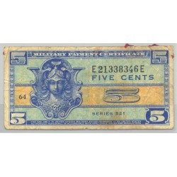 U.S.A. 5 CENTS 1954 MILITARY PAYMENT CERTIFICATE SERIE 521 TB