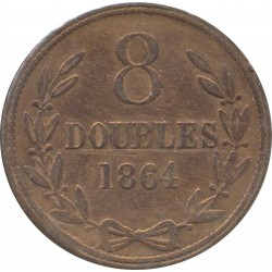 GUERNESEY 8 DOUBLES 1864  TTB