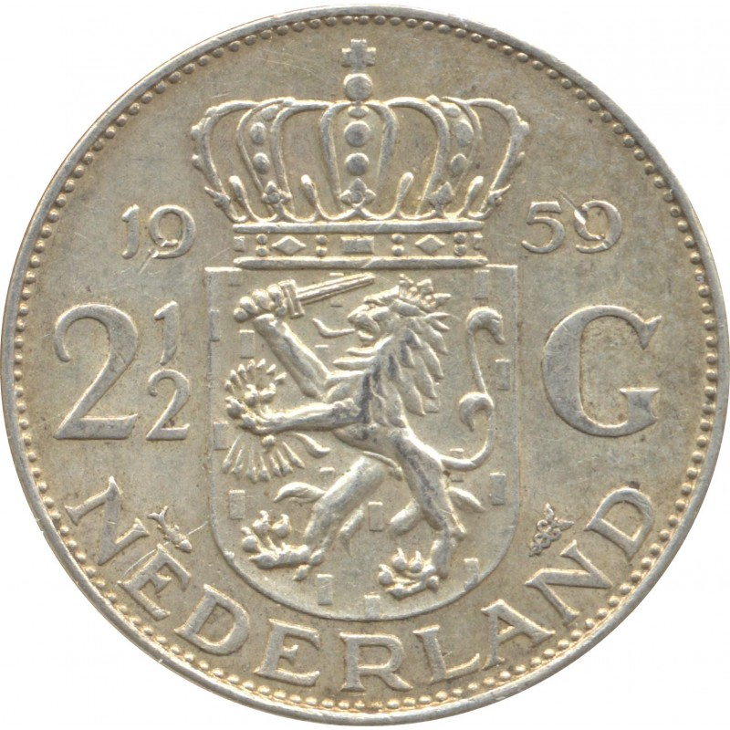 HOLLANDE 2 1/2 GULDEN 1959 TTB N2