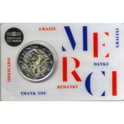 FRANCE 2020 2 EURO COMMEMORATIVE RECHERCHE MEDICAL MERCI COINCARD