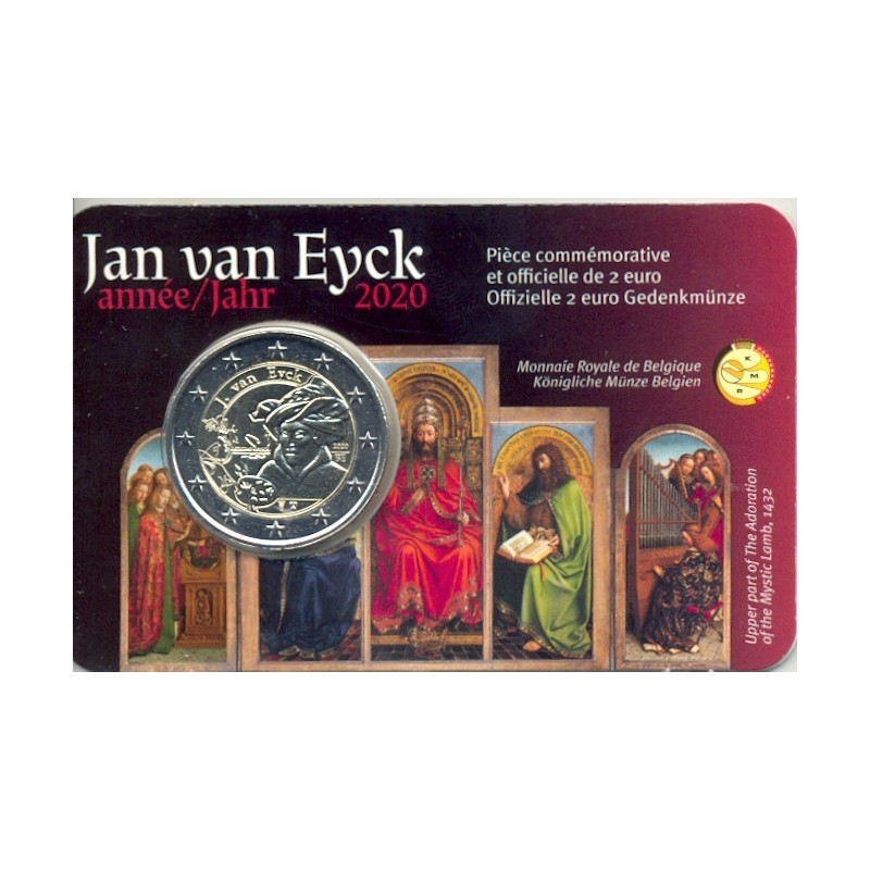 BELGIQUE 2020 2 EURO COMMEMORATIVE JAN VAN EYCK COINCARD VERSION FRANCAISE